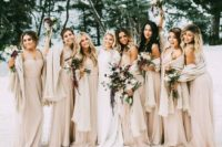 16 champagne gowns and pashminas for bridesmaids