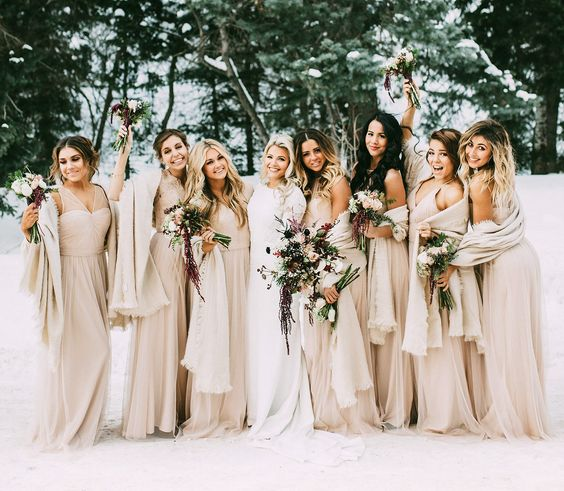 champagne gowns and pashminas for bridesmaids