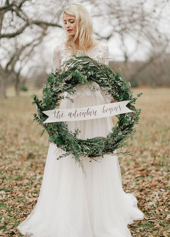 evergreen winter wedding wreath for decor and taking pictures