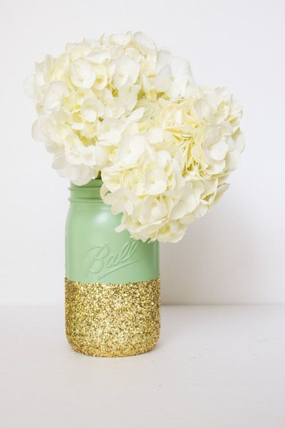 mint and glitter mason jar as a vase and centerpiece
