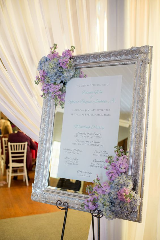 silver framed vintage mirror decorated with hydrangeas