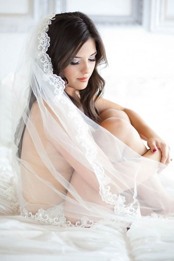 you can even wear nothing or almost nothing with a veil