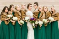 17 emerald green gowns and brown faux fur cover ups