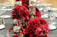 17 grey tablecloth and a lush bold red floral table runner