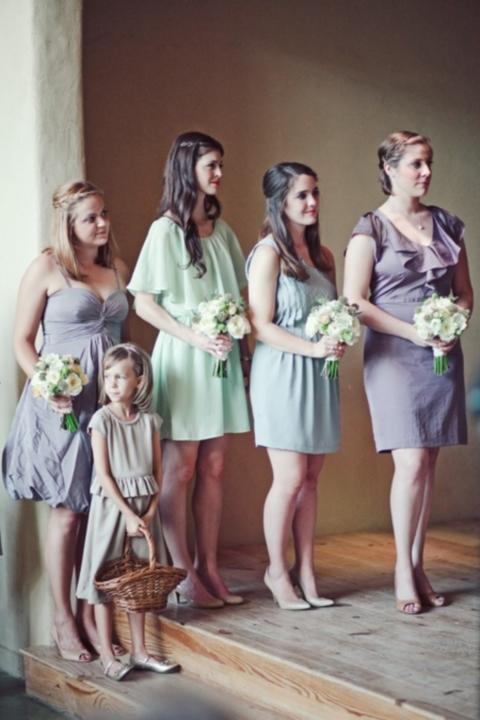 mint and lavender bridesmaids' dresses