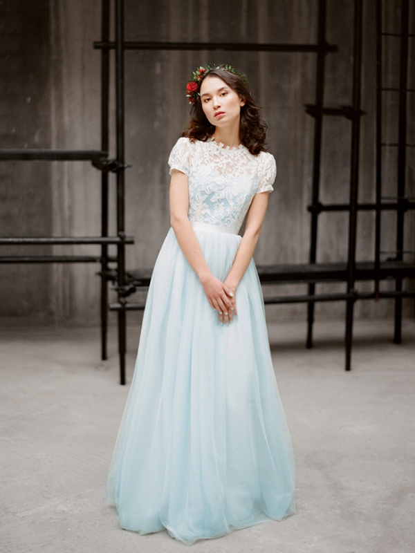 light blue wedding gown with a lace top and short sleeves
