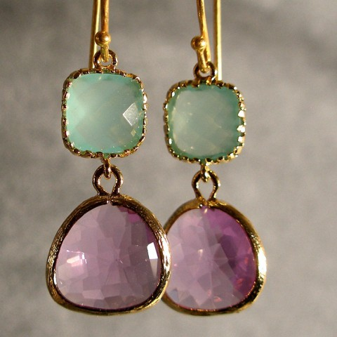 mint and lavender earrings in gold