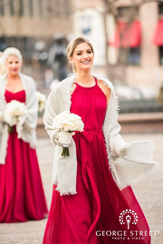 vibrant fuchsia chiffon dresses with fluffy white pashminas for a contrast