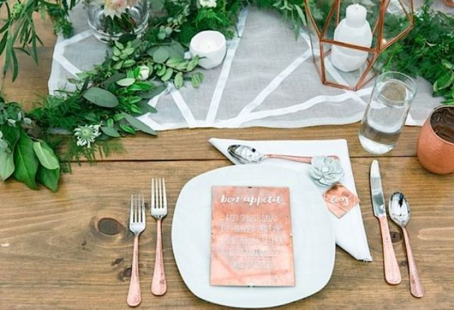 copper paper and lanterns for table settings
