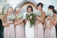 19 dusty pink gowns with neutral faux fur
