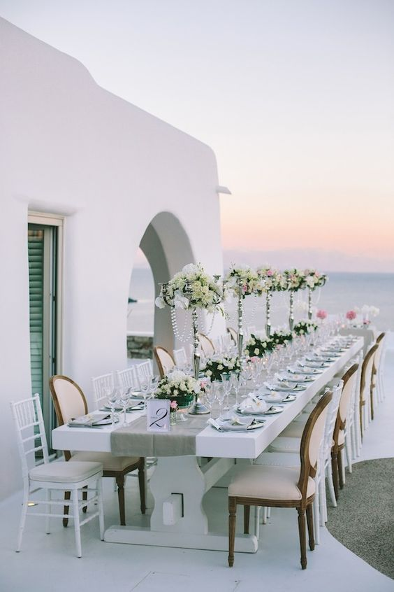 elegant Mykonos table setting in white