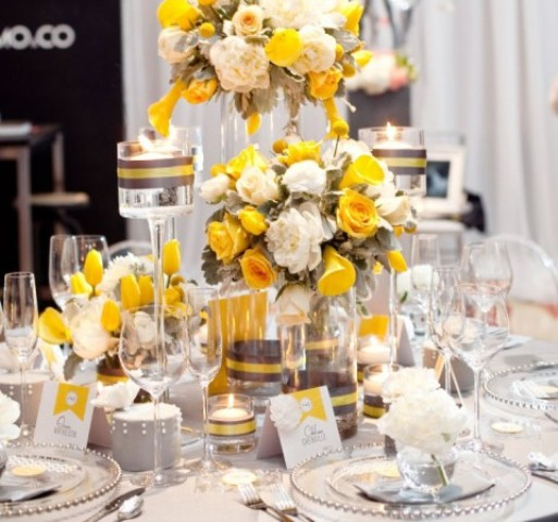grey, yellow and ivory tablescape
