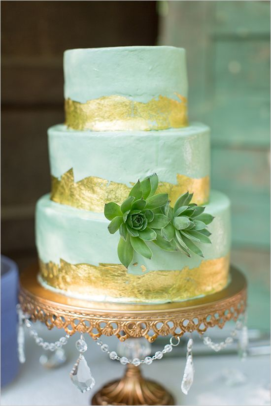 mint and gold succulent cake