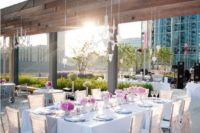 19 pretty pink wedding table setting for a glam rooftop wedding