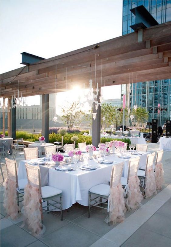pretty pink wedding table setting for a glam rooftop wedding
