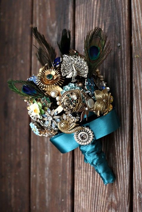 rhinestone and feather boutonniere