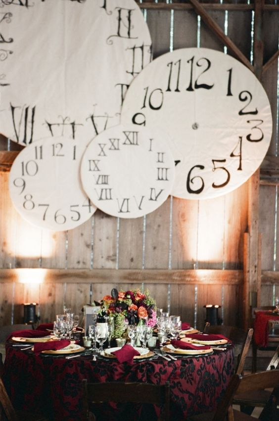 bold steampunk reception with large clocks over it