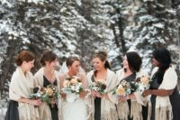 20 charcoal grey maxi gowns and ivory pashminas for a classic look