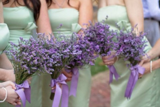 mint bridesmaids' dresses and bouquet of real lavender