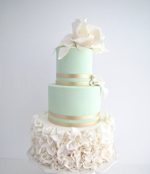 mint cake with gold and ivory ruffles and flowers
