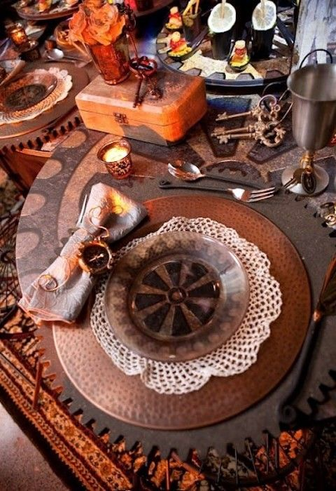 chic steampunk-themed tablescape