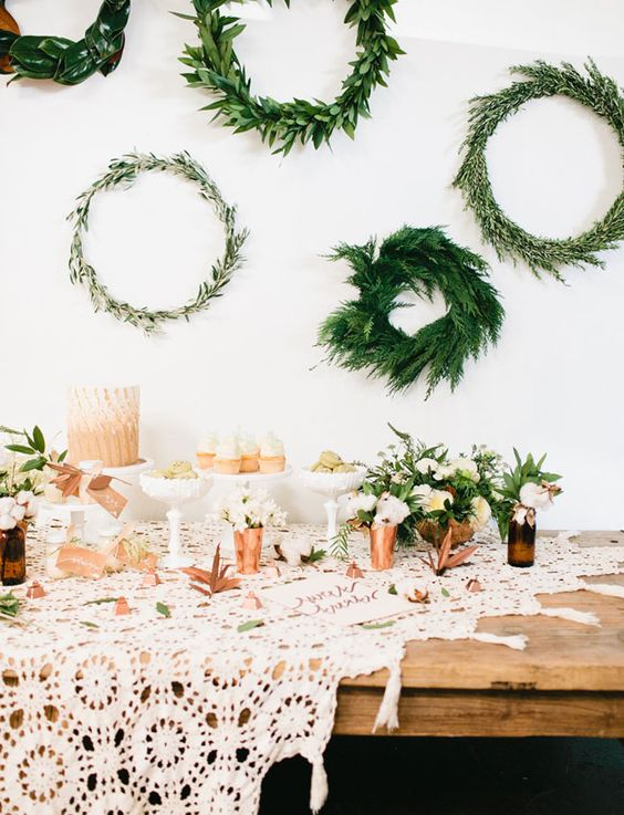 evergreen wreaths for reception decor