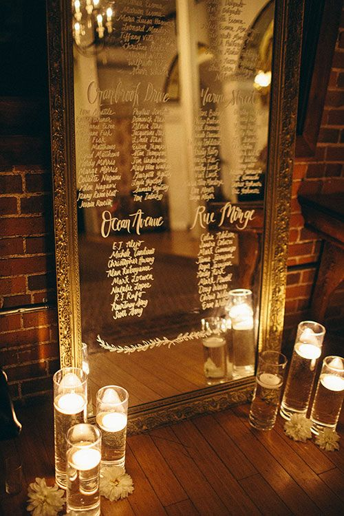 romantic mirror seating plan with floating candles