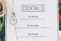 22 black and white menus for minimalist weddings
