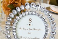 22 bold rhinestones in row for table numbers