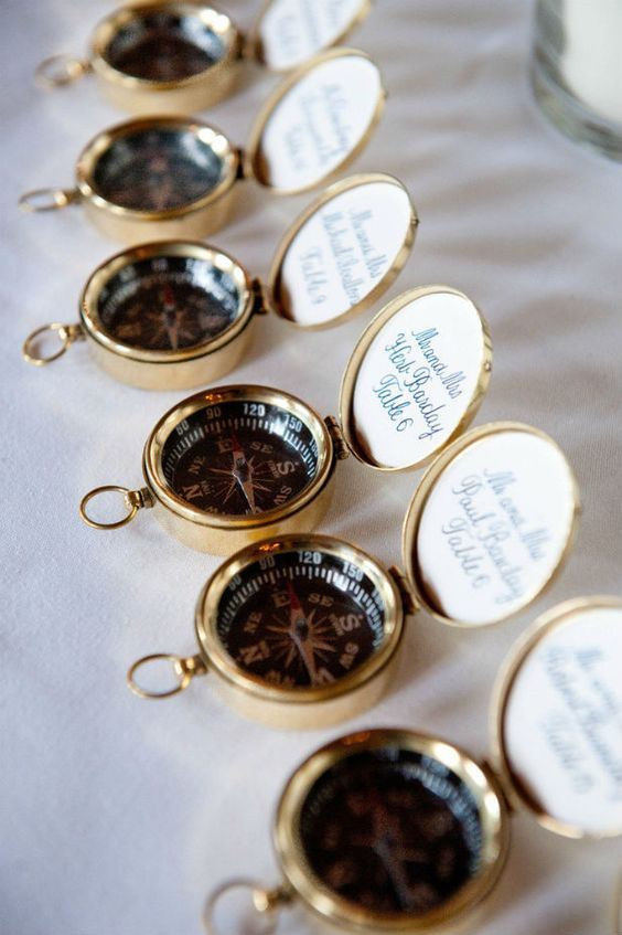 compass wedding favors for steampunk nuptials