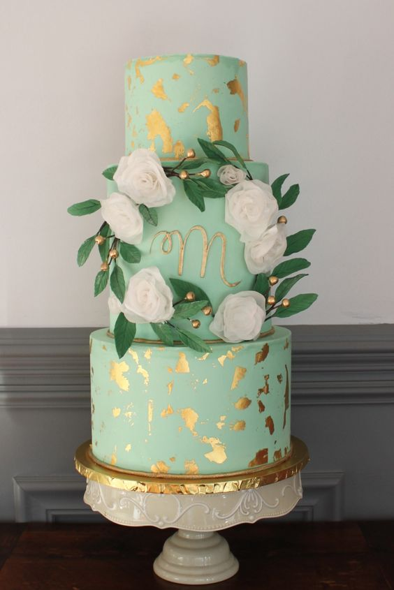 mint green and gold wedding cake 31 fresh and glam mint and gold wedding ideas weddingomania 17443