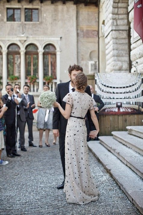 Black and white polka dot wedding dress