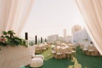 23 blush and gold rooftop decor and moss all over