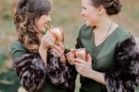 23 green midi dresses with rich brown faux fur