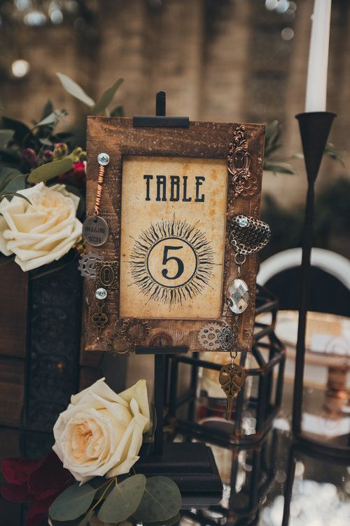 custom steampunk wedding table numbers