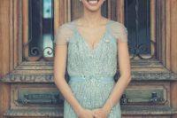 24 sequin blue wedding gown with cap sleeves