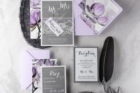24 silver grey and lilac wedding stationery