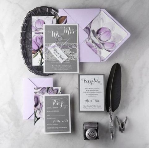 silver grey and lilac wedding stationery