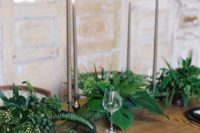 24 tropical minimalism with botanicals, black dishes and tall candles