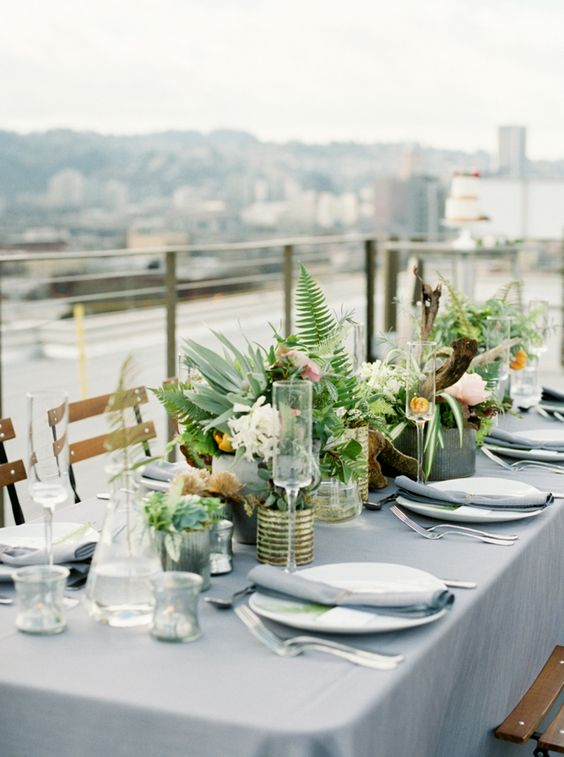 urban industrial rooftop wedding decor