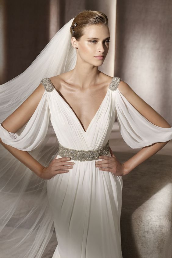 42 romantic greece destination wedding ideas weddingomania for Grecian goddess wedding dresses