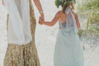 25 gold sequin wedding dress and a mint flower girl dress