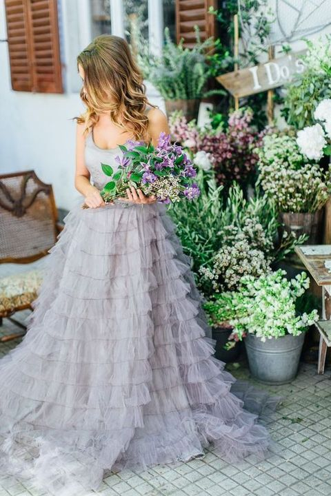 lavender grey ruffled wedding gown