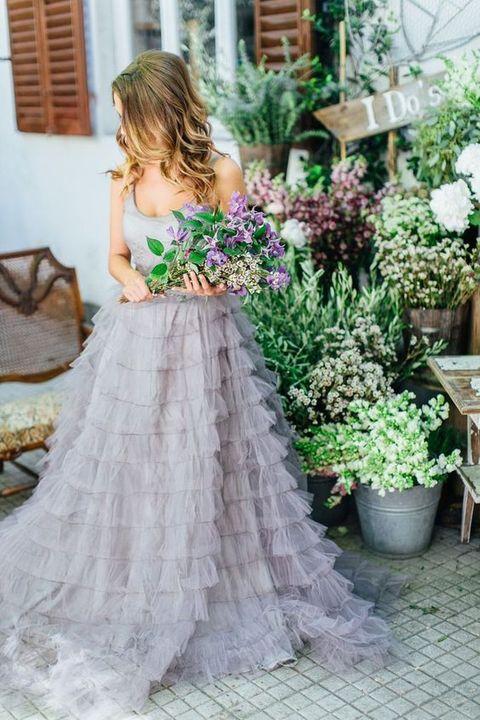 lavender grey ruffled wedding gown