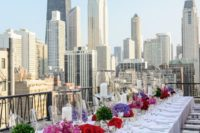 25 modern bold wedding decor on a Chicago rooftop