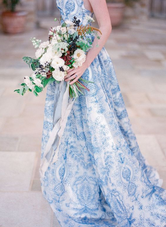 unique patterned wedding gown