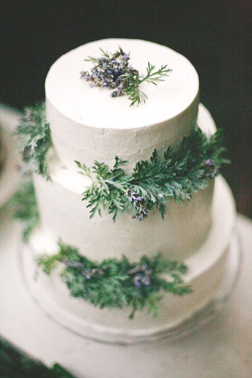 a three-tier white wedding cake with wintry evergreens