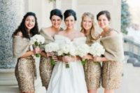 26 gold sequin mini dresses with neutral faux fur for a holiday wedding