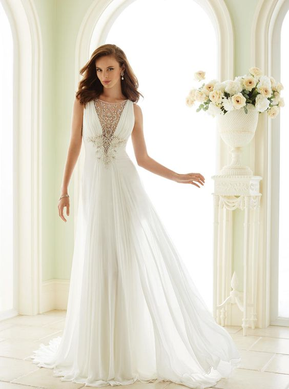 grecian wedding gown with an embellished illlusion neckline