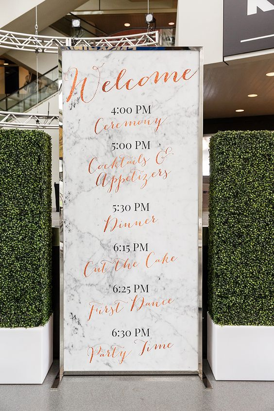 marble program with copper and black letters